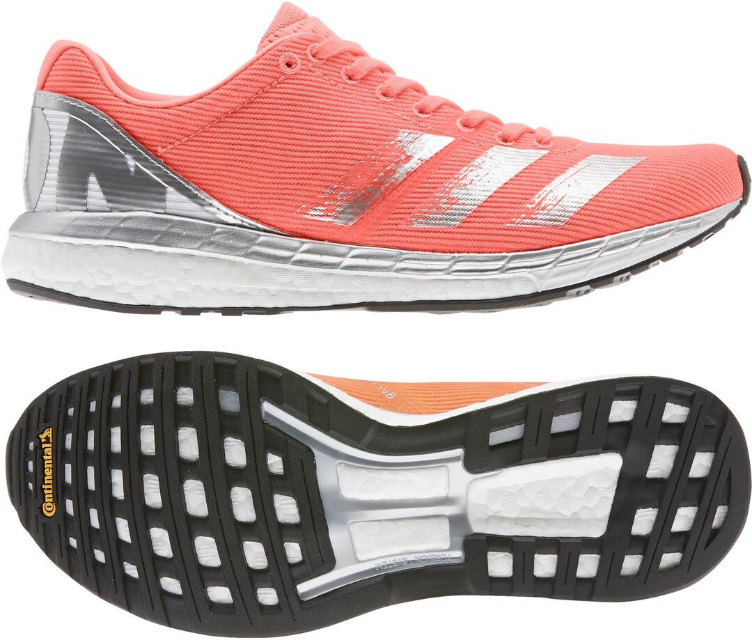 adidas Adizero Boston 8 Schoenen Dames, signal coralsilver metalfootwear white